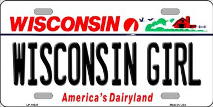 Wisconsin Girl Wisconsin Background Metal Novelty License Plate