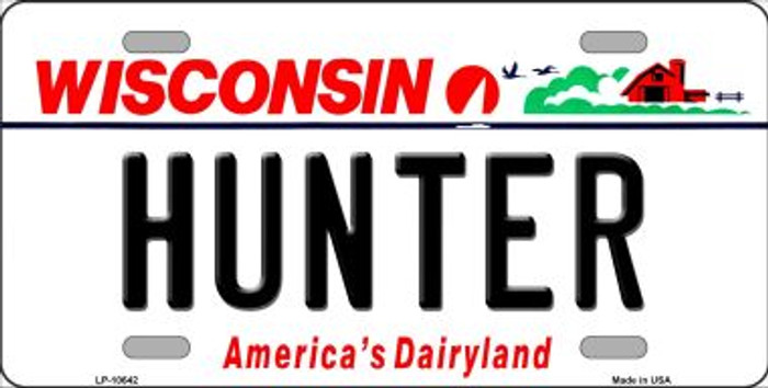 Hunter Wisconsin Background Metal Novelty License Plate