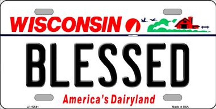 Blessed Wisconsin Background Metal Novelty License Plate