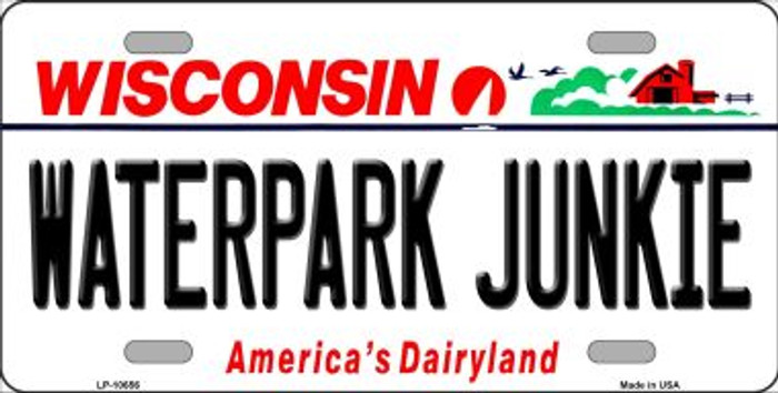 Waterpark Junkie Wisconsin Background Metal Novelty License Plate