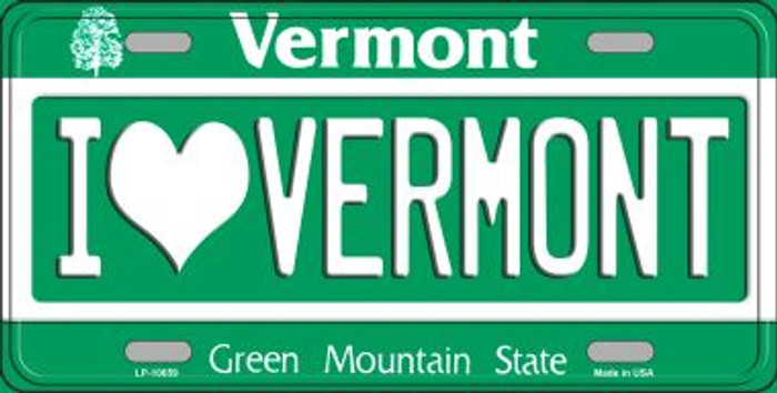 I Love Vermont Background Metal Novelty License Plate