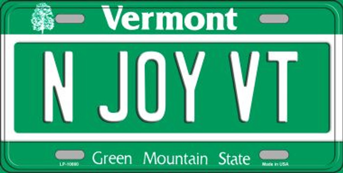 N Joy VT Vermont Background Metal Novelty License Plate