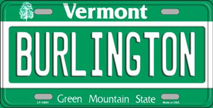 Burlington Vermont Background Metal Novelty License Plate
