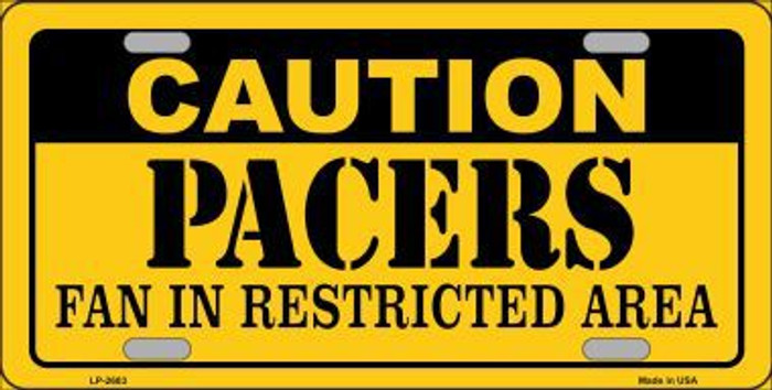 Caution Pacers Metal Novelty License Plate LP-2603