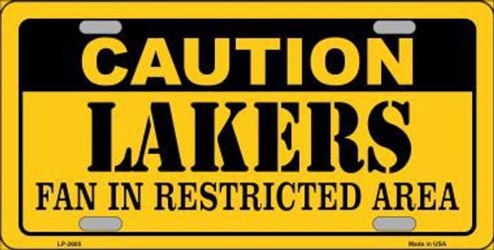 Caution Lakers Fan Metal Novelty License Plate LP-2605