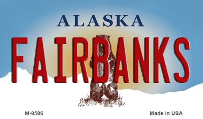 Fairbanks Alaska State Background Novelty Metal Magnet