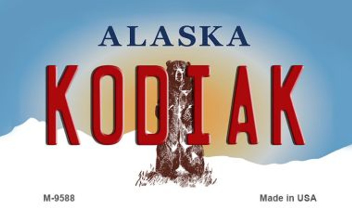 Kodiak Alaska State Background Novelty Metal Magnet