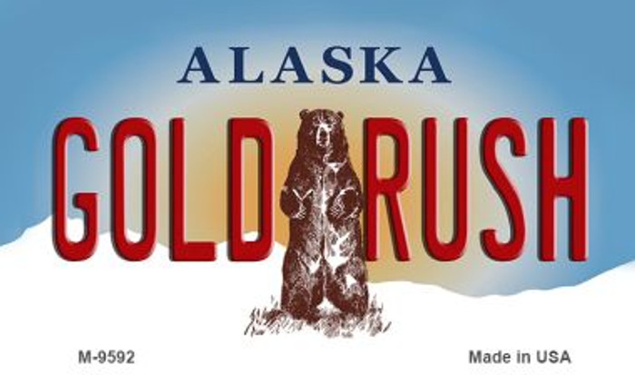 Gold Rush Alaska State Background Novelty Metal Magnet