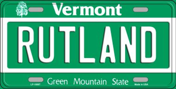 Rutland Vermont Background Metal Novelty License Plate