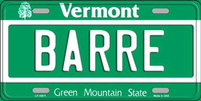 Barre Vermont Background Metal Novelty License Plate