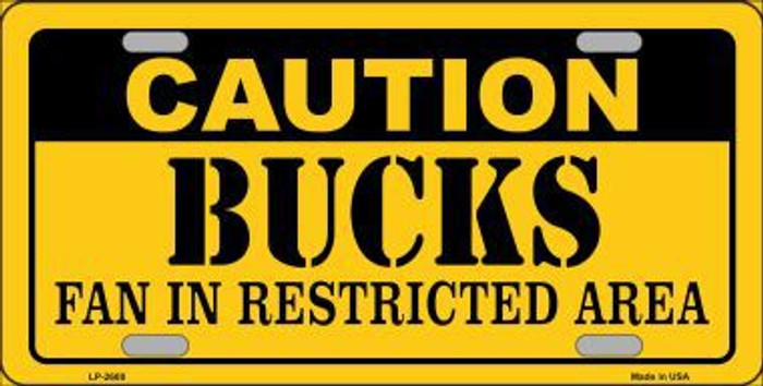 Caution Bucks Fan Metal Novelty License Plate LP-2608