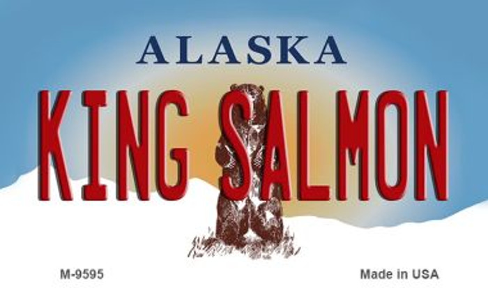 King Salmon Alaska State Background Novelty Metal Magnet