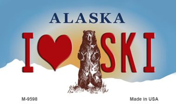 I Love Ski Alaska State Background Novelty Metal Magnet