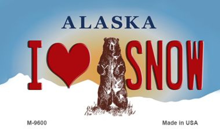 I Love Snow Alaska State Background Novelty Metal Magnet