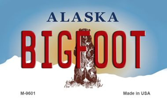 Bigfoot Alaska State Background Novelty Metal Magnet