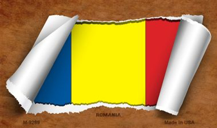 Romania Flag Scroll Novelty Metal Magnet