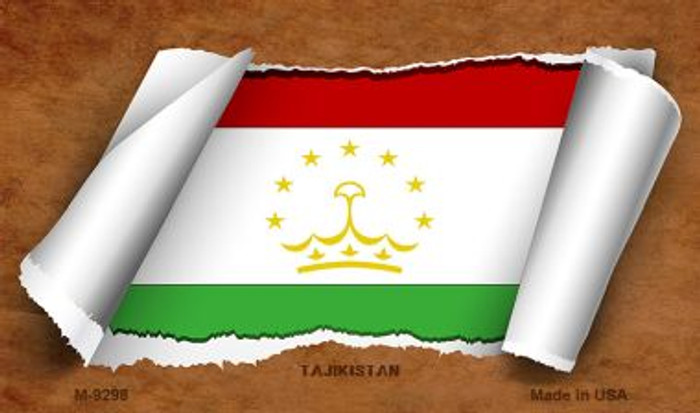 Tajikistan Flag Scroll Novelty Metal Magnet