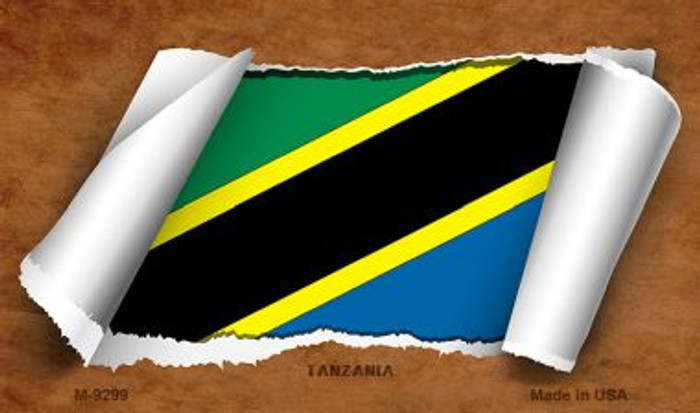 Tanzania Flag Scroll Novelty Metal Magnet