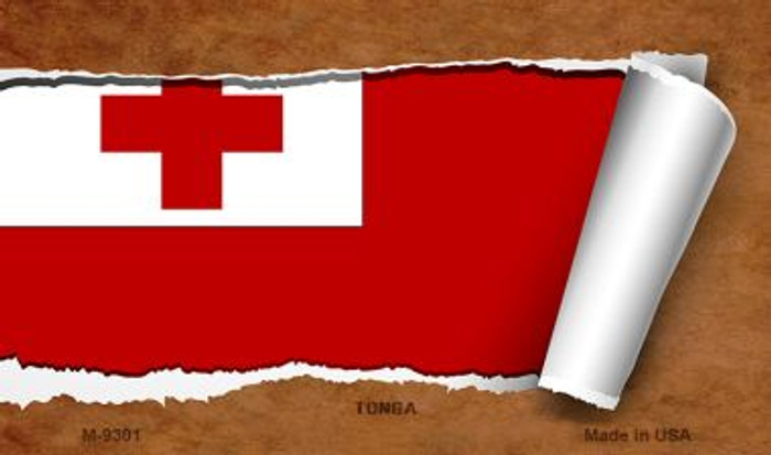 Tonga Flag Scroll Novelty Metal Magnet