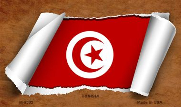 Tunisia Flag Scroll Novelty Metal Magnet