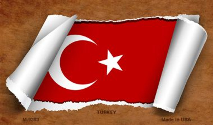 Turkey Flag Scroll Novelty Metal Magnet