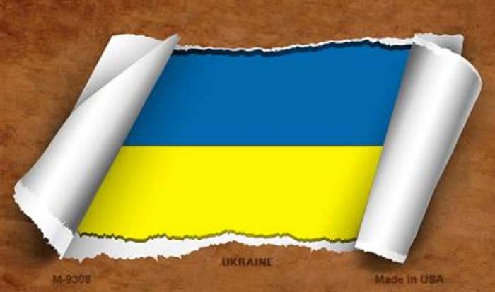 Ukraine Flag Scroll Novelty Metal Magnet
