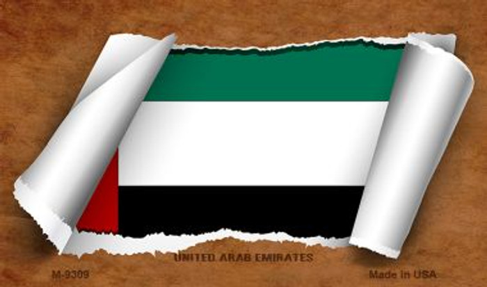 United Arab Emirates Flag Scroll Novelty Metal Magnet