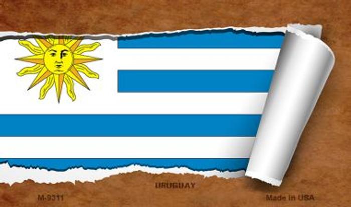 Uruguay Flag Scroll Novelty Metal Magnet