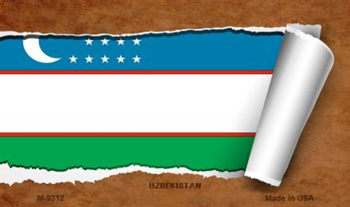 Uzbekistan Flag Scroll Novelty Metal Magnet