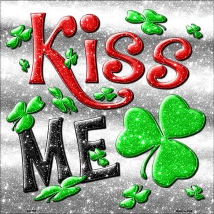 Kiss Me Novelty Metal Square Sign