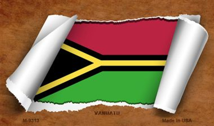 Vanuata Flag Scroll Novelty Metal Magnet