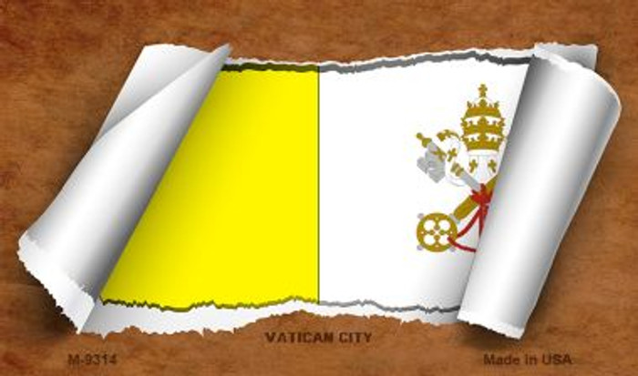 Vatican City Flag Scroll Novelty Metal Magnet
