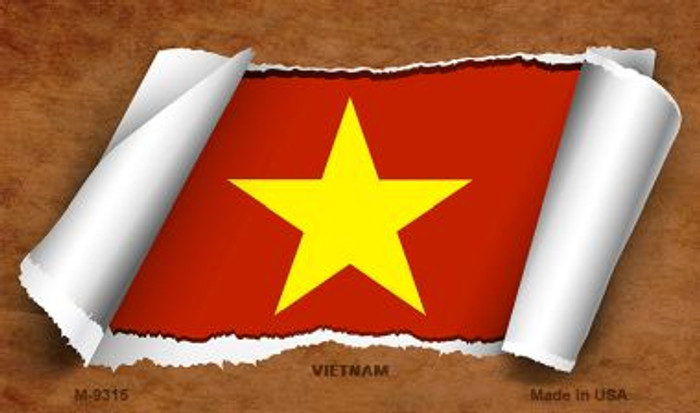 Vietnam Flag Scroll Novelty Metal Magnet