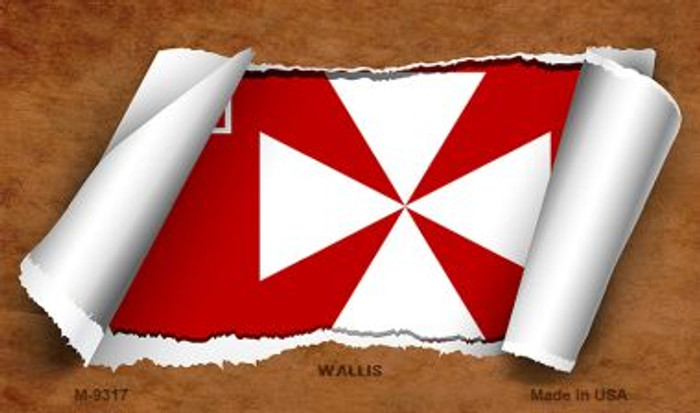 Wallis Flag Scroll Novelty Metal Magnet