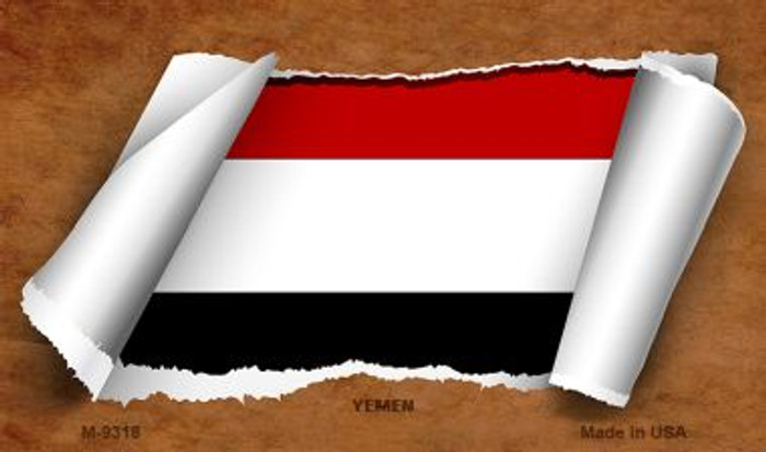 Yemen Flag Scroll Novelty Metal Magnet