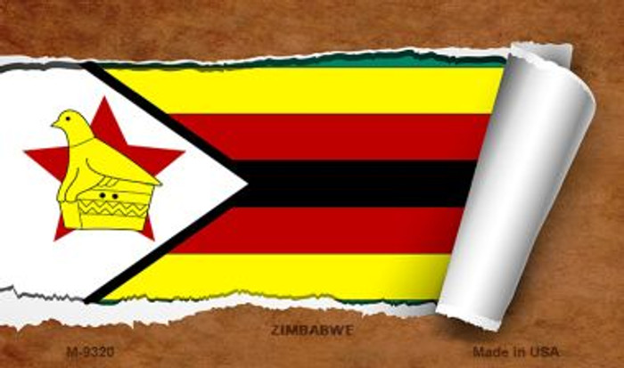 Zimbabwe Flag Scroll Novelty Metal Magnet