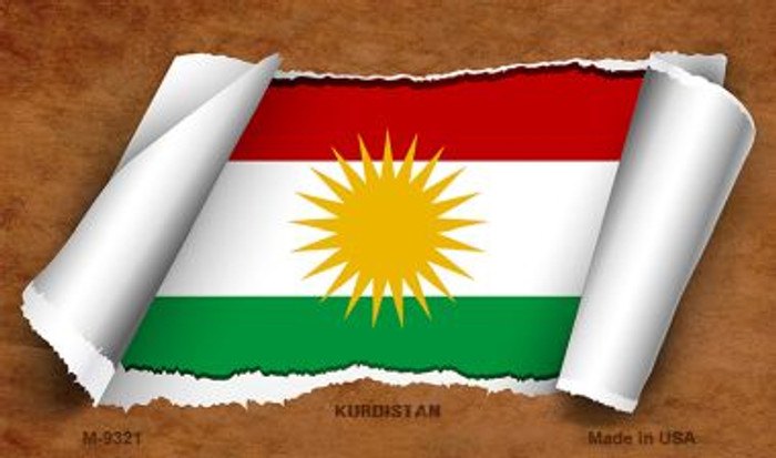 Kurdistan Flag Scroll Novelty Metal Magnet