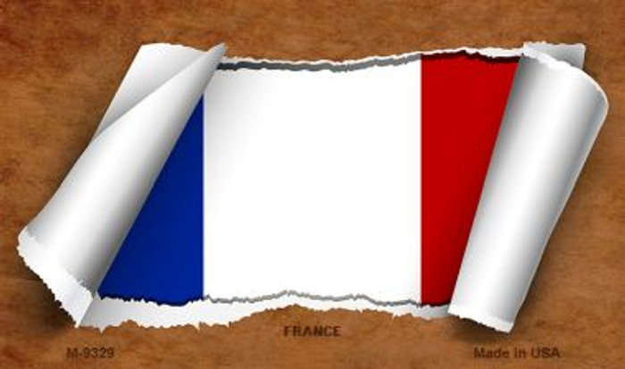 France Flag Scroll Novelty Metal Magnet