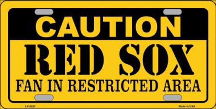 Caution Red Sox Metal Novelty License Plate LP-2627