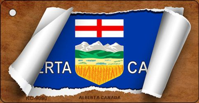 Alberta Canada Flag Scroll Novelty Key Chain