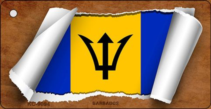 Barbados Flag Scroll Novelty Key Chain