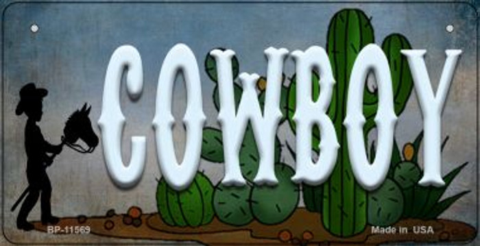 Cowboy Novelty Metal Bicycle License Plate