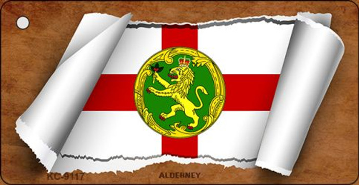 Alderney Flag Scroll Novelty Key Chain
