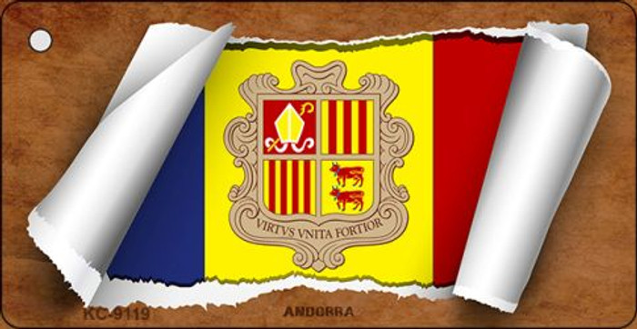 Andorra Flag Scroll Novelty Key Chain