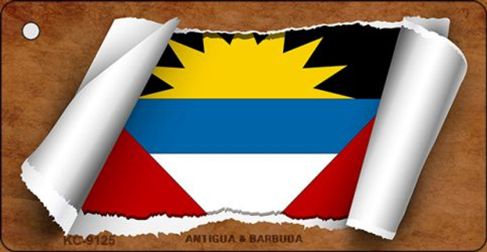Antigua & Barbuda Flag Scroll Novelty Key Chain