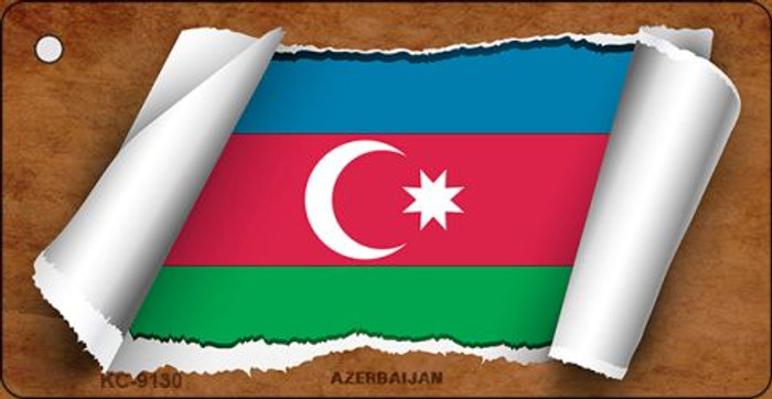 Azerbaijan Flag Scroll Novelty Key Chain