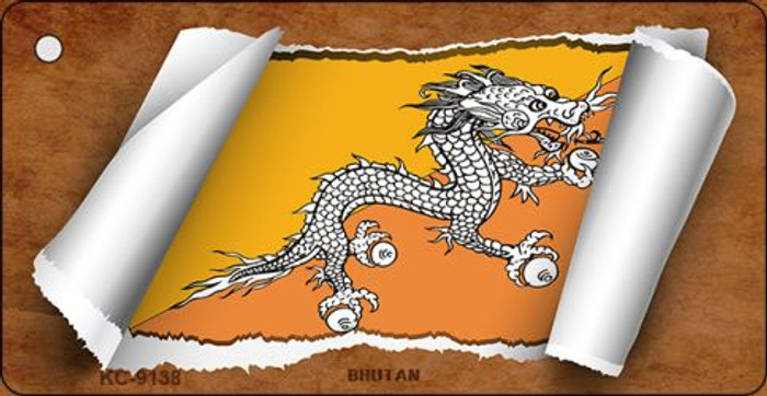 Bhutan Flag Scroll Novelty Key Chain
