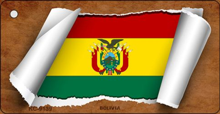 Bolivia Flag Scroll Novelty Key Chain