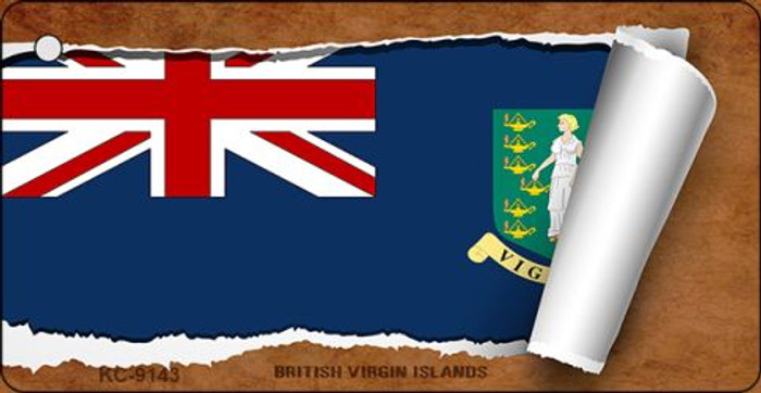 British Virgin Islands Flag Scroll Novelty Aluminum Key Chain KC-9143
