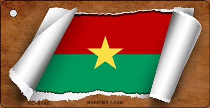 Burkina Faso Flag Scroll Novelty Key Chain